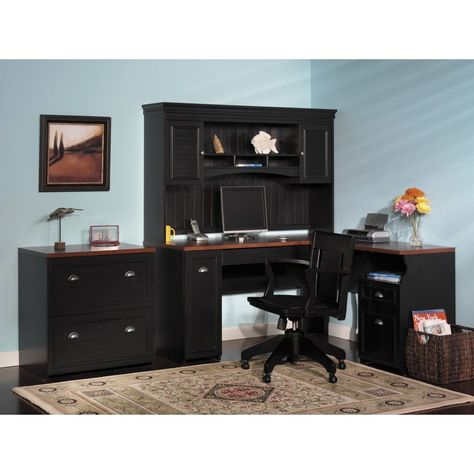 Fancy Home Office Furniture Dessign Idea WITH Black Desk with Pink ...