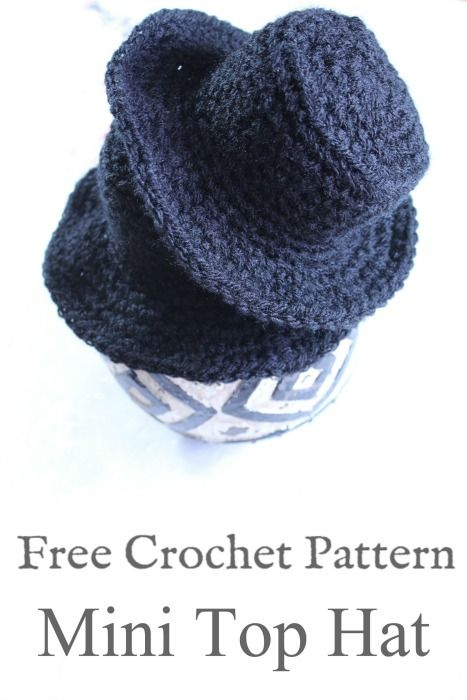 Make this Mini Top Hat pattern with Ashley for a fun, little afternoon project. Explore all of the possibilities of how to use this hat. Crochet Doll Clothes, Crochet Dolls, Crochet Baby, Free Crochet, Crochet Ideas, Crochet Projects, Crochet Top, Christmas Crochet Patterns, Crochet Beanie