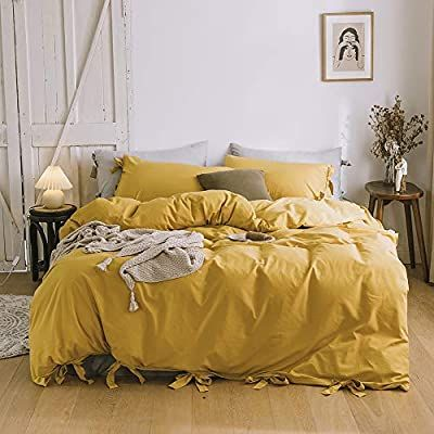 Amazon Com Doneus 100 Washed Cotton Duvet Cover Twin Twin Xl Size Green Striped Duvet Cover Set 3 Piece Bed Yellow Duvet Duvet Covers Yellow Duvet Cover Sets