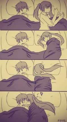 ---- sleep together kiss anime cute