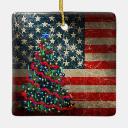 Personalized American Flag And Christmas Tree Ceramic Ornament Zazzle Com Ceramic Ornaments Custom Holiday Card White Elephant Gifts Funny