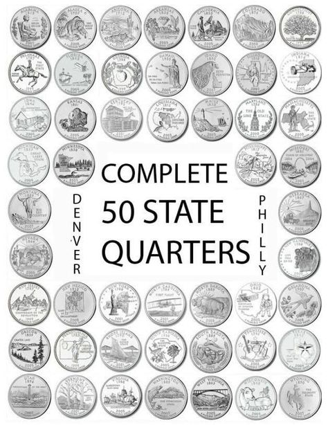 50 STATE QUARTERS COMPLETE SET 1999-2008 UNCIRCULATED P Mint Coins U.S