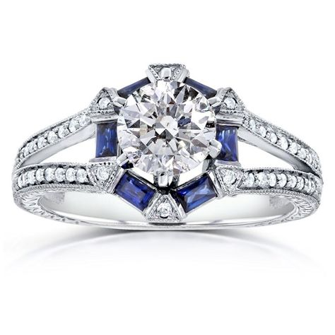 Art Deco Blue Sapphire and Diamond Engagement Ring 1 5/8 CTW 14k White Gold_11.0