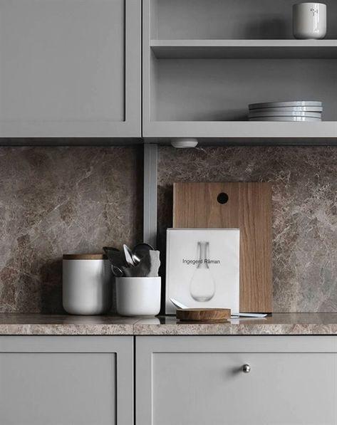 TDC: Understated elegance in grey, beige and brown #contemporaryKitchens