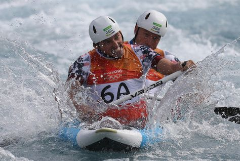 David Florence of Great Britain and Richard Hounslow of Great Britain on their way to cross the finish line during the Men's Canoe Double (C2) Final on Day 6 of the Rio 2016 Olympics at Whitewater Stadium on August 11, 2016 in Rio de Janeiro, Brazil.