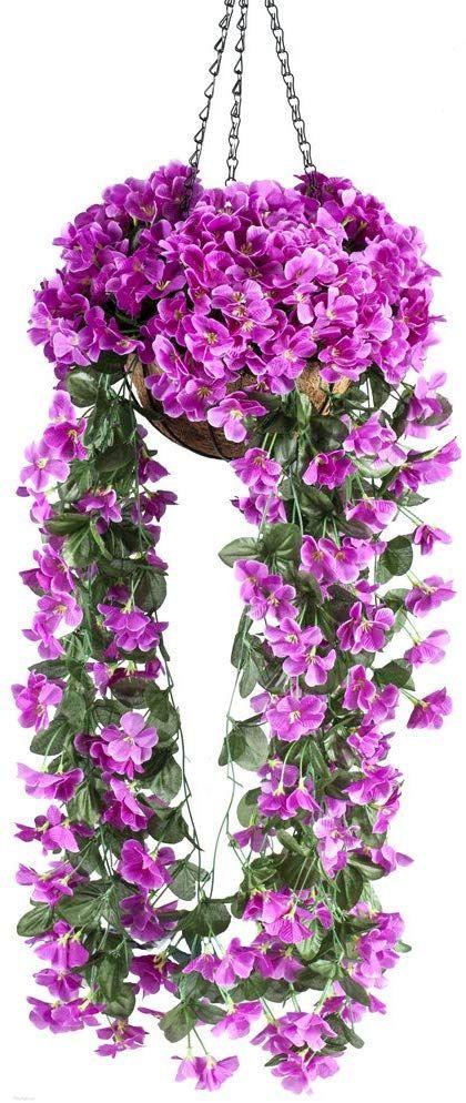 Multi-Color Garden Baske Artificial Hanging Wall Fake Silk Rose Flowers Rattan L