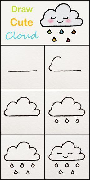 Learn How To Draw Cute Cloud Step By Step Very Simple Tutorial Cloud Drawings Kawaii Tut Easy Drawings For Kids Easy Drawings For Beginners Easy Drawings