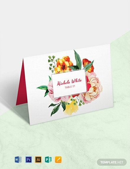 Free Water Color Wedding Place Card Template Word Doc Psd Apple Mac Pages Illustrator Publisher Wedding Place Card Templates Place Card Template Free Place Card Template