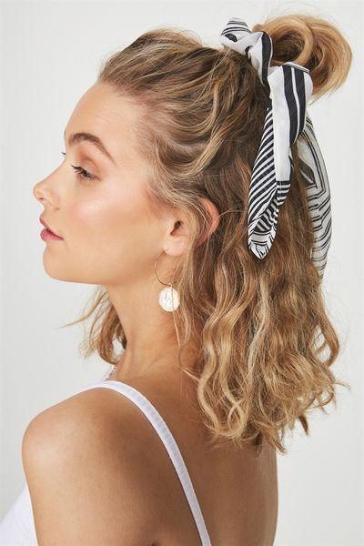Maddison Scarf Scrunchie, BLACK STRIPE