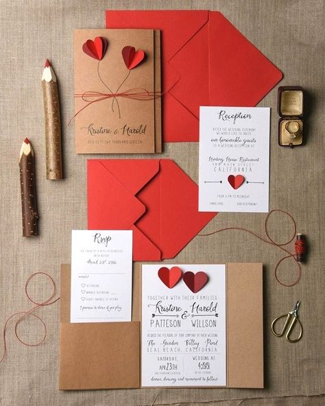 Crimson Wedding Invitations Rustic Wedding Invitation Set in place 20 Hearts Wedding ceremony Invitation Suite #howtoweddinginvitationsstationery #bestweddinginvitationsbeautiful #onweddinginvitationsetsy #weddinginvitationstemplate