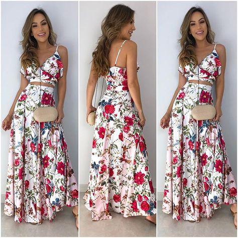 bf3be7daa Começando o dia com esse conjunto super delicado de cropped e saia! 💐✨❤  Blusa cropped Larissa floral   saia longa…