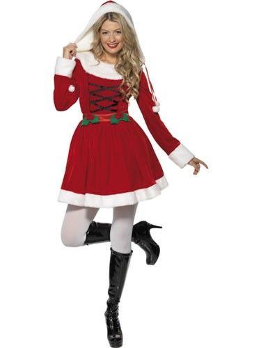 COSTUME LADIES DECK HALLS MRS SANTA CLAUS MINI DRESS CHRISTMAS XMAS FANCY DRESS