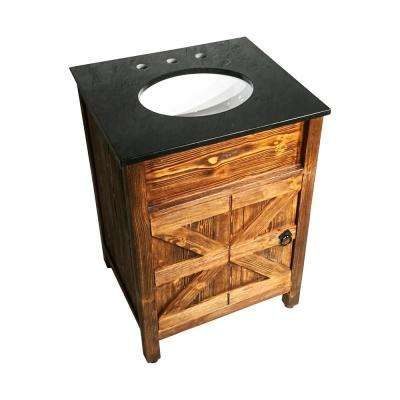 24 In X 21 In Barn Door Vanity In Natural Teak Finish With Granite Countertop In Black With White Basin Bathroom Vanity Wood Bathroom Vanity Bathroom Top