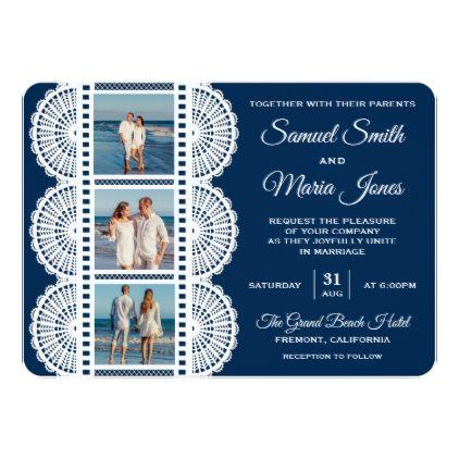 Navy Blue White Lace Photo Wedding Invitation Zazzle Com With