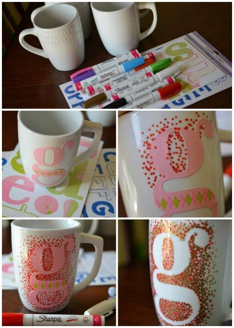 DIY Sharpie Painted Mugs - That Won't Wash Away! - - DIY Sharpie Painted Mugs - That Won't Wash Away. A Dollar Tree Hack that is a great gift idea for the holidays! Make custom DIY mugs within minutes! Sharpie Projects, Sharpie Crafts, Diy Sharpie Mug, Clay Projects, Tape Crafts, Sharpie Mug Designs, Sharpie Doodles, Kid Crafts, Projects To Try
