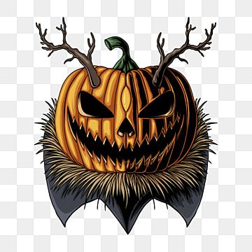 Halloween Pumpkin Horned Vector Illustration Card Cartoon Celebration Png And Vector With Transparent Background For Free Download Halloween Pumpkins Halloween Typography Spooky Stickers