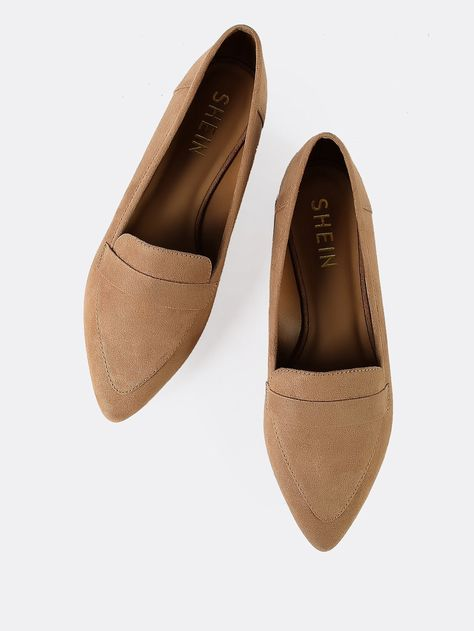 2ad563648648 Casual Pointed Toe Camel Vegan Suede Pointy Toe Flat Loafer Shoes ...