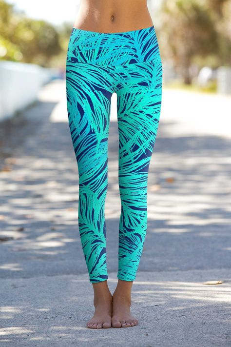 Gentle You Lucy Blue Boho Printed Performance Leggings Yoga Pants - Women, Size: XL (Women)