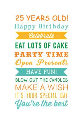 25 Years Old Birthday Printable Card Customize Add Text And Photos Print For Free