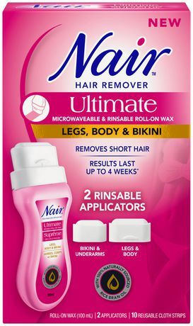 Nair Ultimate Microwaveable And Rinsable Roll On Wax Legs Body And