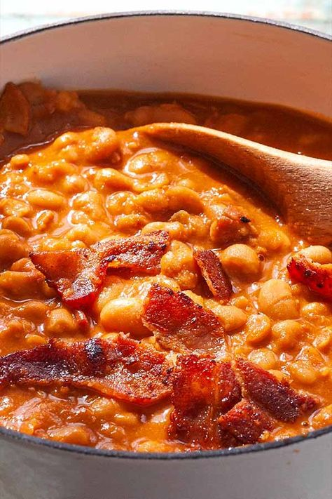 Stovetop Baked Beans! Use canned beans to cut down on time, while still making party-worthy baked beans on the stovetop. Richly flavored with molasses and brown sugar, these beans won't disappoint. #bakedbeans #BBQsidedish #simplyrecipes #easybakedbeans #partysidedish