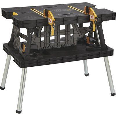 Keter Folding Work Table With Two Adjustable Clamps 1 000 Lb Capacity Model 17182239 In 2020 Keter Folding Work Table Work Table Welding Table Diy