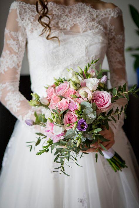 Romantyczny bukiet ślubny, #pink, #flowers