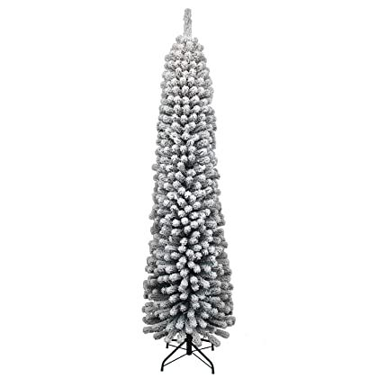 King Of Christmas 12 Foot Prince Flock Pencil Artificial Christmas Tree With 650 In 2020 Pencil Christmas Tree Slim Artificial Christmas Trees Natural Christmas Decor