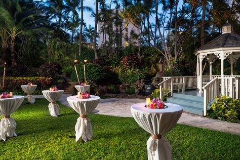 Hilton Waikiki Beach - Hawaii Venues - Chic cocktail hour for an outdoor beach wedding reception