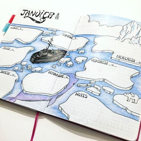 """if you are looking for gorgeous ocean bullet journal layout inspiration you are coming to the right place! We have collected over 50 gorgeous ocean bullet journal spreads, including a """"how-to"""" video and. January Bullet Journal, Bullet Journal Books, Bullet Journal Inspo, Bullet Journal Ideas Pages, Bullet Journal Layout, Book Journal, Journals, Mind Map Design, Journal Organization"""
