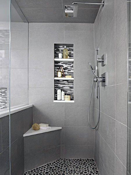 The Best And Easiest Light Grey Tile Shower Ideas To Inspire You Modern Shower Design Stone Shower Grey Bathroom Tiles