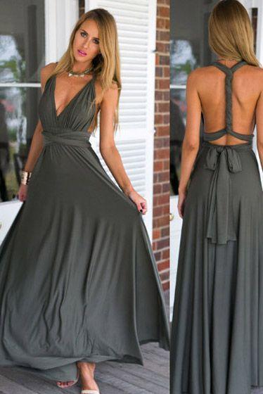 db53d8879a148d Vestido Longo Multiformas de Amarrar para Festa Madrinha Casamento Cinza |  UFashionShop