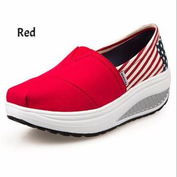 NEW Women/'s Canvas Swing Shoes Platform Walking Toning Fitness Trainers Wedges