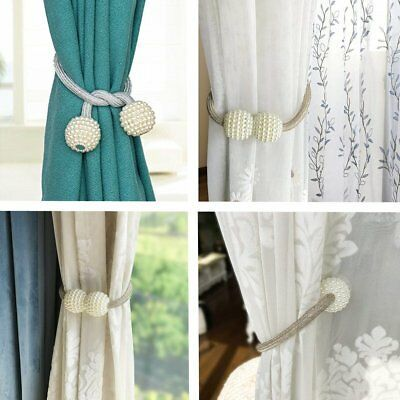 Details About 2pc Magnetic Curtain Tiebacks Pearl Beads Tie Back