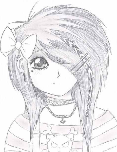 easy anime drawings | Emo Scene gurl by ~Kattify7764 on deviantART