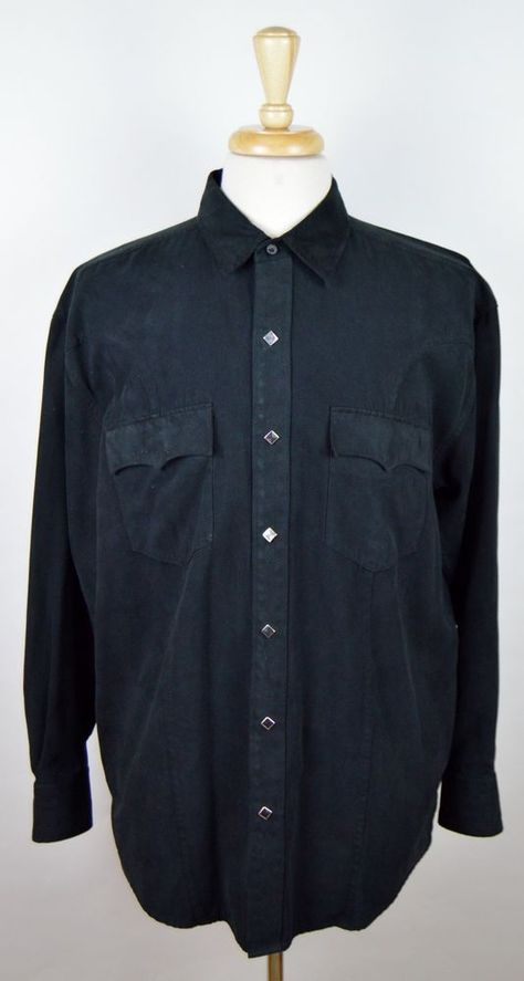 Roper Black Long Sleeve Polyester Square Pearl Snap Western