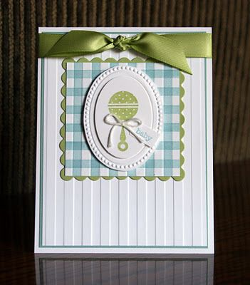 """This card also uses the """"gingham"""" technique.  I always like gingham for baby stuff.  I also used the Stripes Embossing Folder the """"old fashioned"""" way on this card.  I used it to emboss my background paper.  Easiest technique ever!!  :)  The Designer Frames Textured Impressions Embossing Folders are also available for FREE during SAB.  They are on page 13 of the catalog."""
