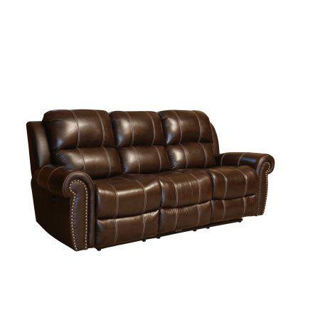 Ashton Classic Dark Brown Leather Reclining Power Sofa Reclining