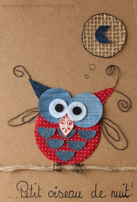 Petit oiseau de nuit, petit hibou ! #jeans #recycle http://pinterest.com/fleurysylvie/mes-creas-la-collec/ et www.toutpetitrien.ch