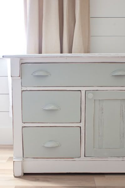 DIY two-tone painted dresser