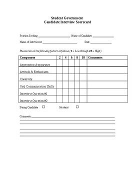 Student Leadership Candidate Interview Rubric Student Leadership