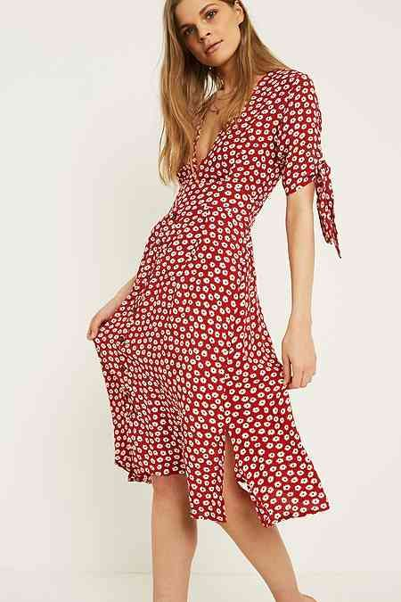 shades of more photos best value Faithfull The Brand Nina Red Floral Midi Dress | Red midi dress ...