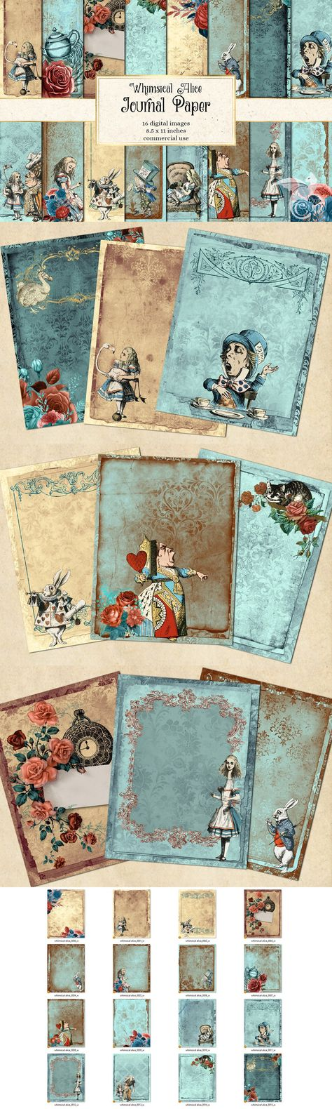 Whimsical Alice Journal Paper