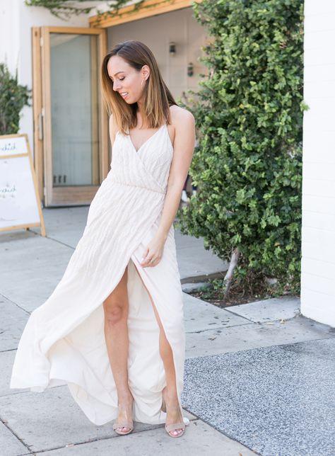 ba0c8342846 Sydne Style wears saylor beaded maxi dress for bridesmaid dress ideas  #maxidress #nude
