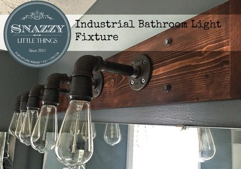 """DIY Industrial Bathroom Light Fixture {and other """"knock offs""""} - By SnazzyLittleThings.com"""