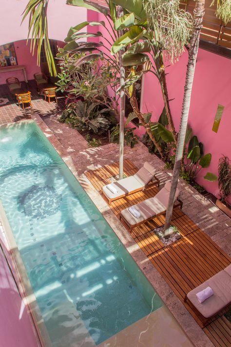 Rosas & Xocolate Hotel Boutique – Travel is art Hotel Rosa, Interior Tropical, Piscina Hotel, Casa Hotel, Restaurant Hotel, Pink Hotel, Hotel Boutique, Hotel Safe, Great Hotel