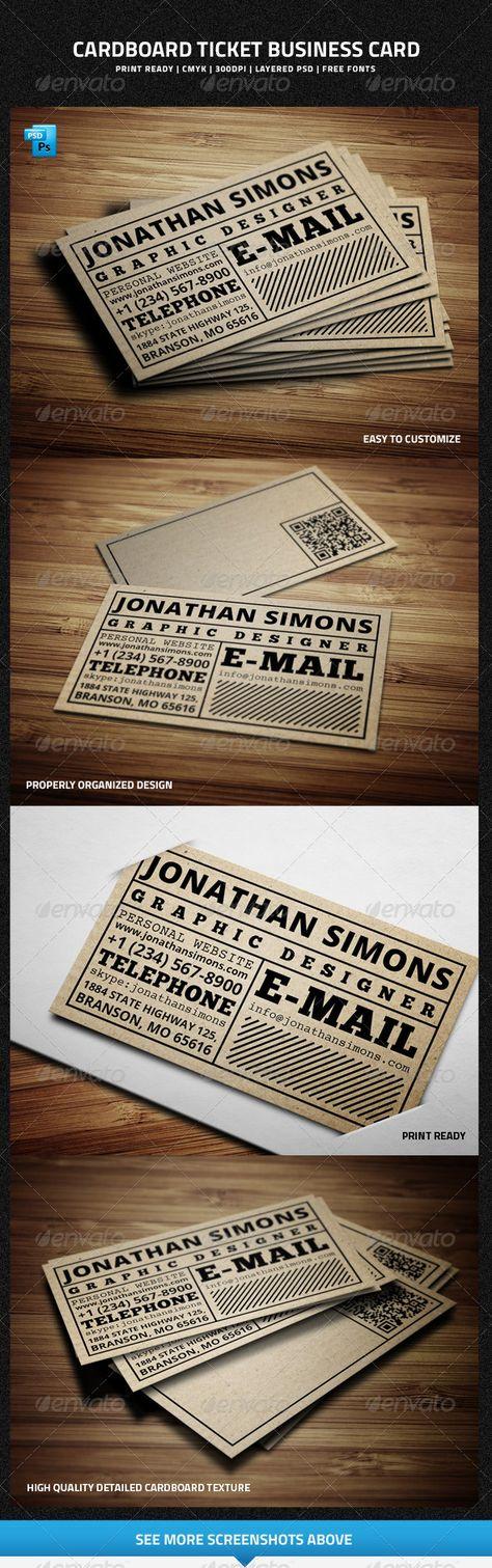Cardboard Ticket Business Card #businesscard #psdtemplate #corporate #creative…