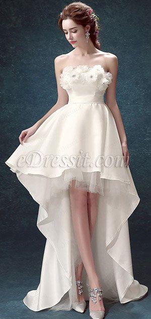 White Strapless Corset Back Long Wedding Bridal Dress 35193307