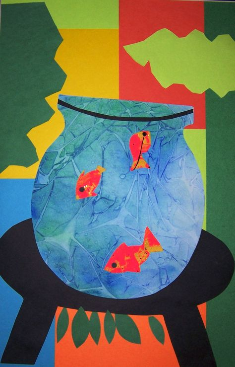 Marvelous Matisse Cut Outs. Goldfish bowl water effect was made using watercolour with plastic wrap on top to dry. Vase was a cutout by folding in half to create symmetry , then tracing it onto the dry watercolour paper. Background are paper cutout shapes
