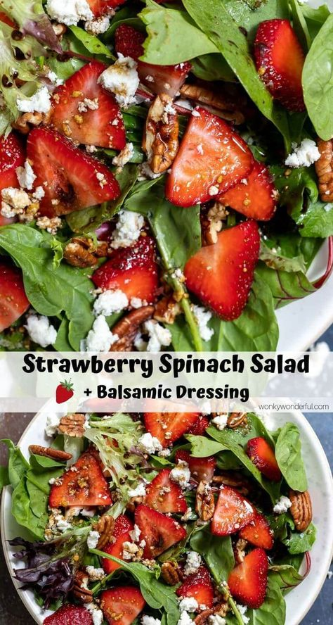 Jun 2019 - This Strawberry Spinach Salad with Homemade Balsamic Vinaigrette Dressing comes together in no time for a fresh and flavorful side salad or light dinner. Strawberryrecipes - strawberry recipes salad - healthy strawberry salad - salad recipes s Spinach Salad Recipes, Healthy Salad Recipes, Vegetarian Recipes, Balsamic Salad Recipes, Balsamic Vinaigrette Recipe, Simple Salad Recipes, Spinach Feta Salad, Homemade Balsamic Dressing, Balsamic Vinegarette